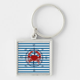 Compass and Red Crab Blue and White Stripe Silver-Colored Square Keychain