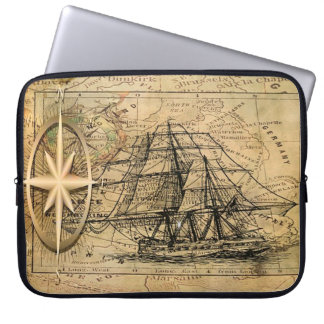 Compass and Ship Laptop Sleeve