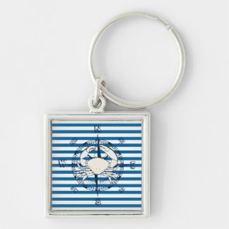 Compass and White Crab Blue and White Stripe Silver-Colored Square Keychain