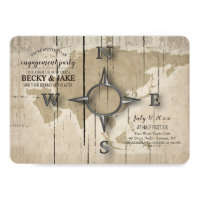 Compass and World Map Engagement Party Invitation