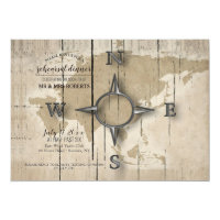 Compass and World Map Rehearsal Dinner Party Invitation