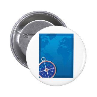 Compass Background Pinback Button