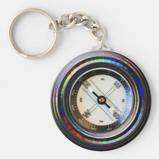 Compass Basic Round Button Keychain
