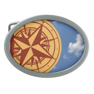 Compass Belt Buckle. Oval Belt Buckle