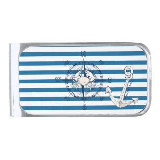 Compass Blue and White Nautical Stripe Money Clip