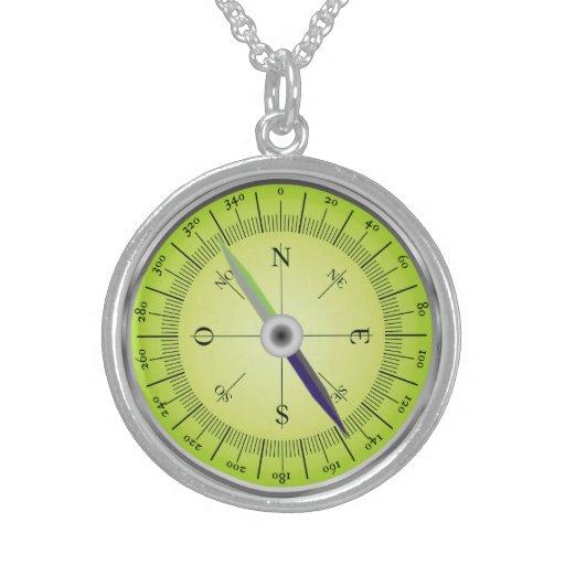 Compass Design Round Pendant Necklace
