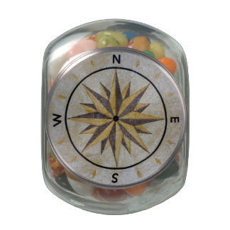 Compass Direction Design Point Floor Table Top Mar Glass Candy Jars