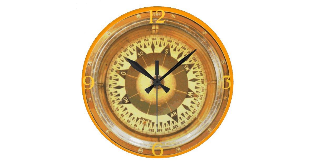 compass large clock zazzle