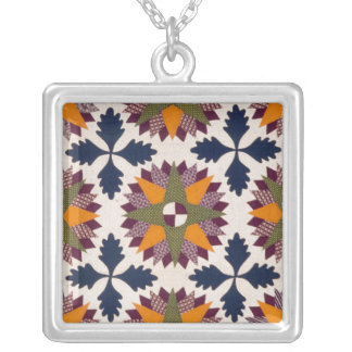 Compass-like stars appliquéd quilt, 1860-70 silver plated necklace