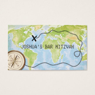 Compass Map Travel Bar Bat Mitzvah Placecard Business Card