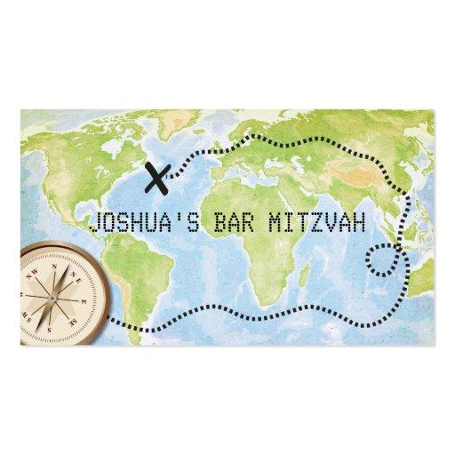 Compass Map Travel Bar Bat Mitzvah Placecard Business Card Template