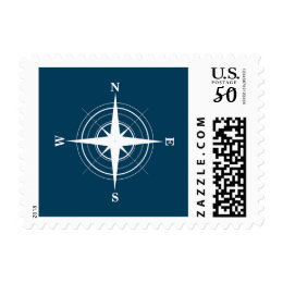 Compass Nautical Navy Blue Sailor Postage
