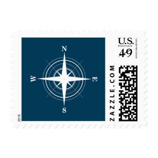 Compass Nautical Navy Blue Sailor Postage Stamp