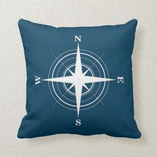 Compass Nautical Navy Pillow