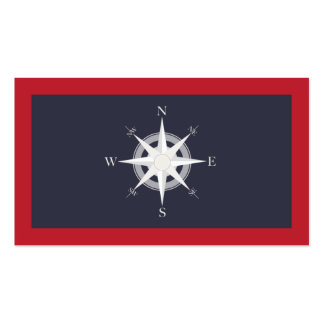 Compass Navy Blue and Red Nautical Double-Sided Standard Business Cards (Pack Of 100)
