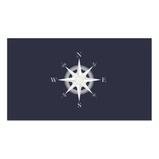 Compass Navy Blue Nautical Double-Sided Standard Business Cards (Pack Of 100)