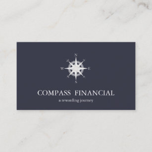 Financial business cards templates zazzle compass navy blue nautical financial advisor business card colourmoves