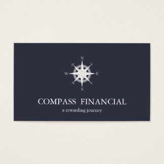Compass Navy Blue Nautical Financial Advisor Business Card