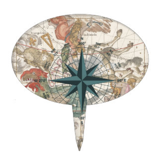 Compass on an Ancient Map Cake Topper