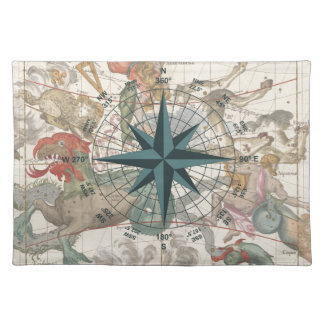 Compass on an Ancient Map Placemat