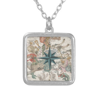 Compass on an Ancient Map Silver Plated Necklace