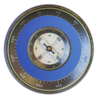 Compass on blue plates