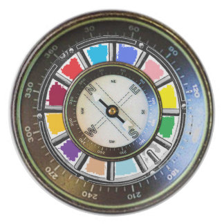 Compass on color wheel dinner plate