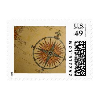 Compass on Globe Postage