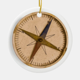 compass Double-Sided ceramic round christmas ornament