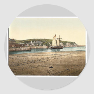 Compass Point, Bude, Cornwall, England vintage Pho Round Stickers