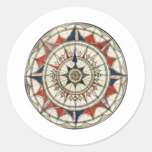 Compass Rose #5 Classic Round Sticker