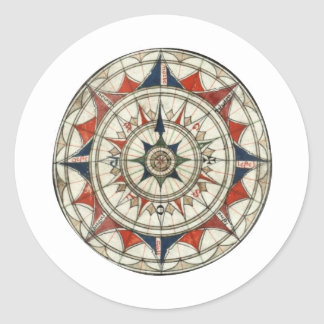 Compass Rose #5 Classic Round Sticker