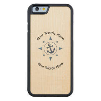 COMPASS ROSE ANCHOR CUSTOM CARVED MAPLE iPhone 6 BUMPER CASE