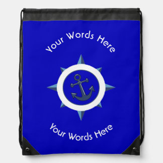 COMPASS ROSE ANCHOR CUSTOM DRAWSTRING BAG