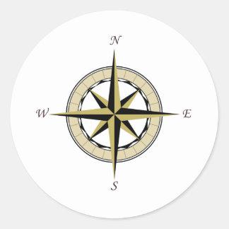 Compass Rose Art Classic Round Sticker