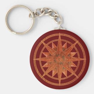 Compass Rose Basic Round Button Keychain