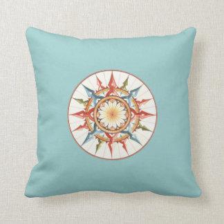 Compass rose beach house throw pillow