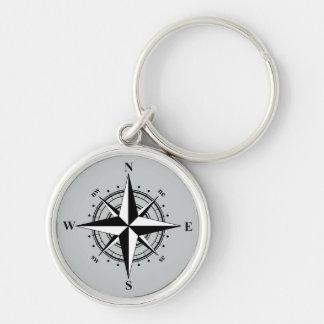 Compass Rose Black & White Keychain