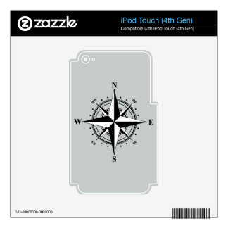 Compass Rose Black & White Skins For iPod Touch 4G