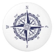 Compass Rose Blue Ceramic Knob