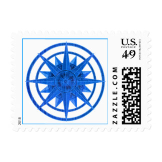 Compass Rose Blue Postage Stamps