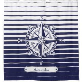 Compass Rose Blue Stripes