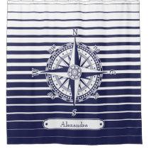 Compass Rose Blue Stripes Bathroom Shower Curtain