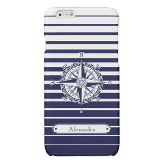 Compass Rose Blue Stripes Glossy iPhone 6 Case
