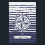 "Compass Rose Blue Stripes Kitchen Towel<br><div class=""desc"">A nautical design with an ornate compass rose on blue and white stripes and a label with customizable text.</div>"