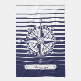Compass Rose Blue Stripes Kitchen Towel