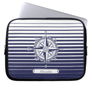 Compass Rose Blue Stripes Laptop Sleeve