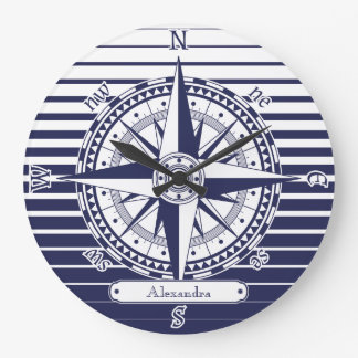 Compass Rose Blue Stripes Large Clock