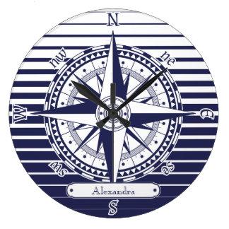 Compass Rose Blue Stripes Large Clock