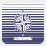 Compass Rose Blue Stripes Square Sticker